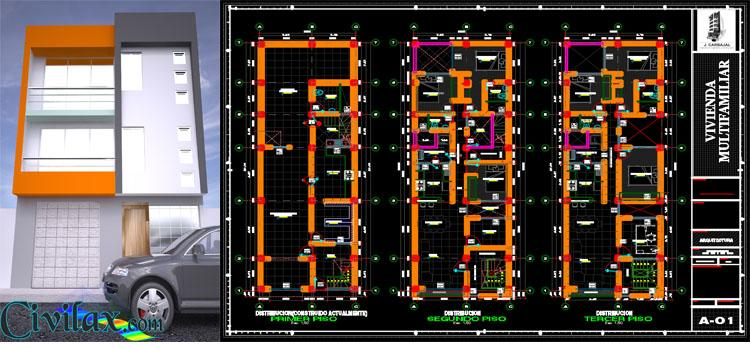 3D House Drawing with AutoCAD Architecture Rendering