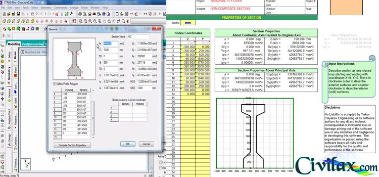 Calculation of Section Properties of Girders in Bridge using