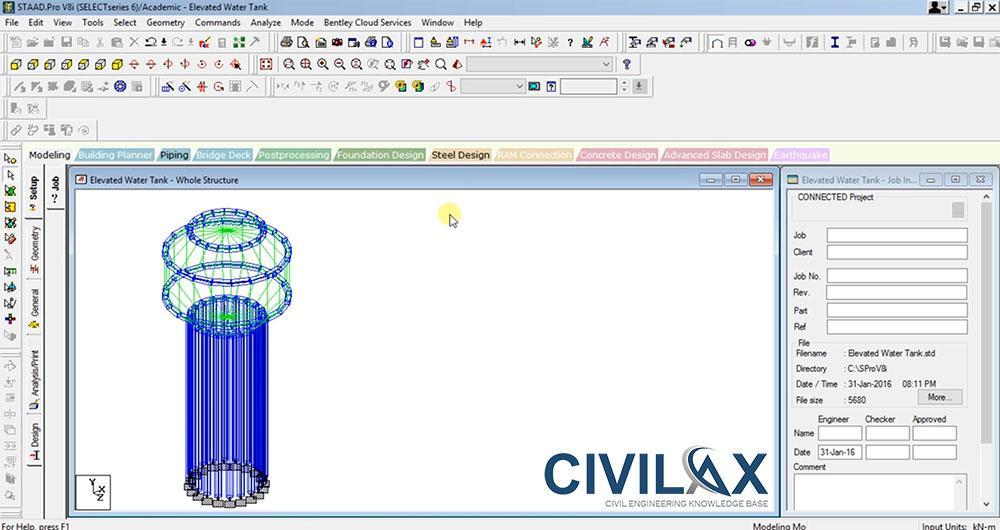 Elevated Water Tank Modelling Tutorial in STAAD Pro - Civil