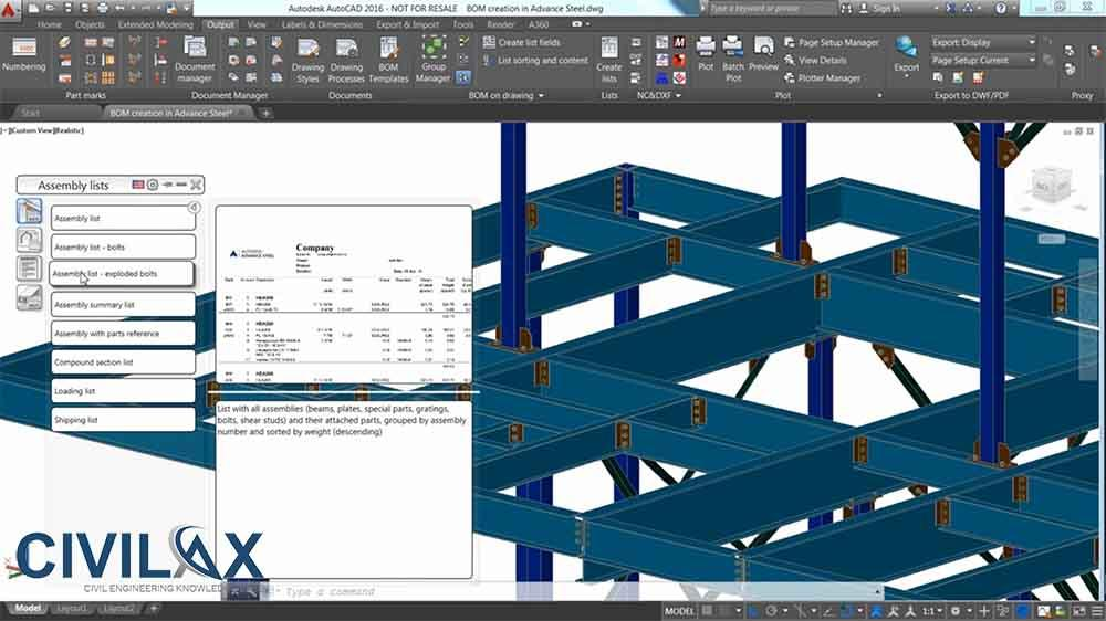 Advance Steel Tutorial: Creating a BOM Opening in Microsoft