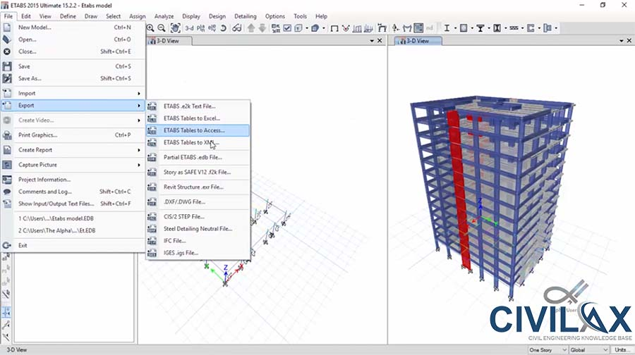 Revit to ETABS Model Export with CSiXRevit 2015 Plugin