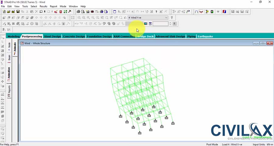 Wind Load Analysis of 5 Story Building Frame Analysis using