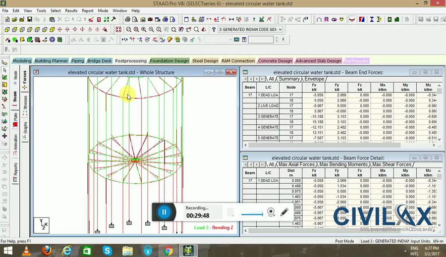 Design of Elevated Circular Water Tank in STAAD Pro V8i - Civil