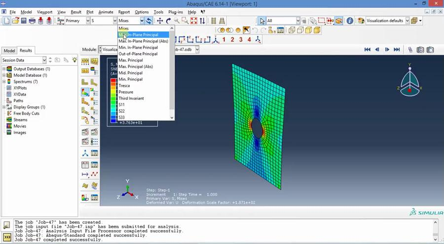 Abaqus Tutorial - Plate with Hole (3D Shell) Subjected to