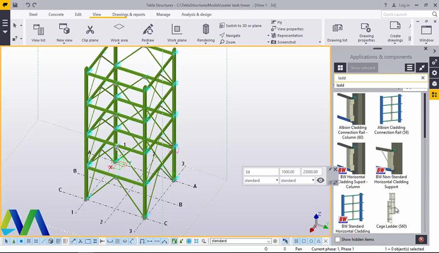 Water Tank tower Structure in Tekla Structures 2017 - Civil