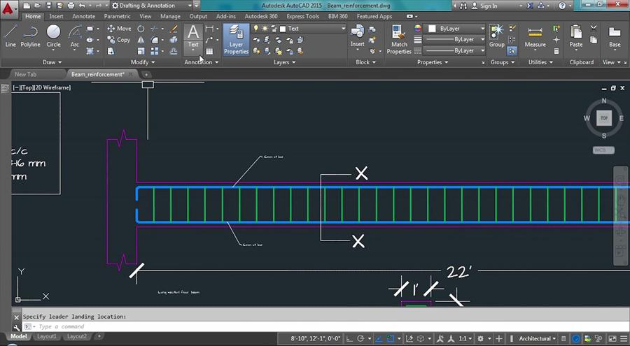 Beam Reinforcement Detailing Drawing With Autocad - Civil