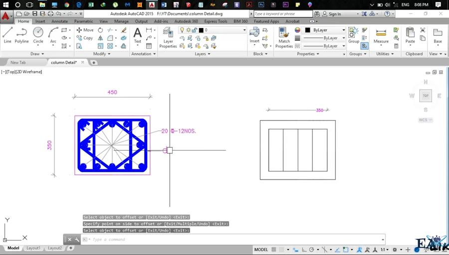 How To Make Column Beam Detailing Drawing in AutoCAD - Civil