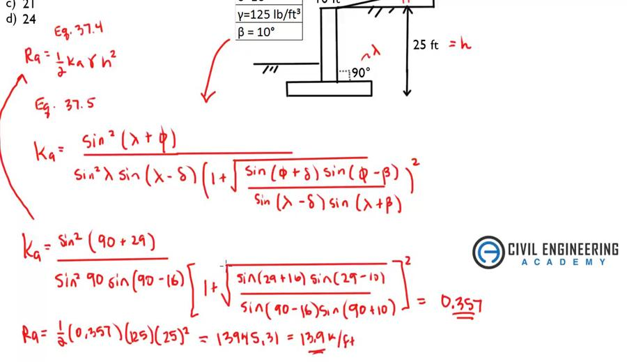 Civil PE Exam - Geotech - Find the Resultant Force using