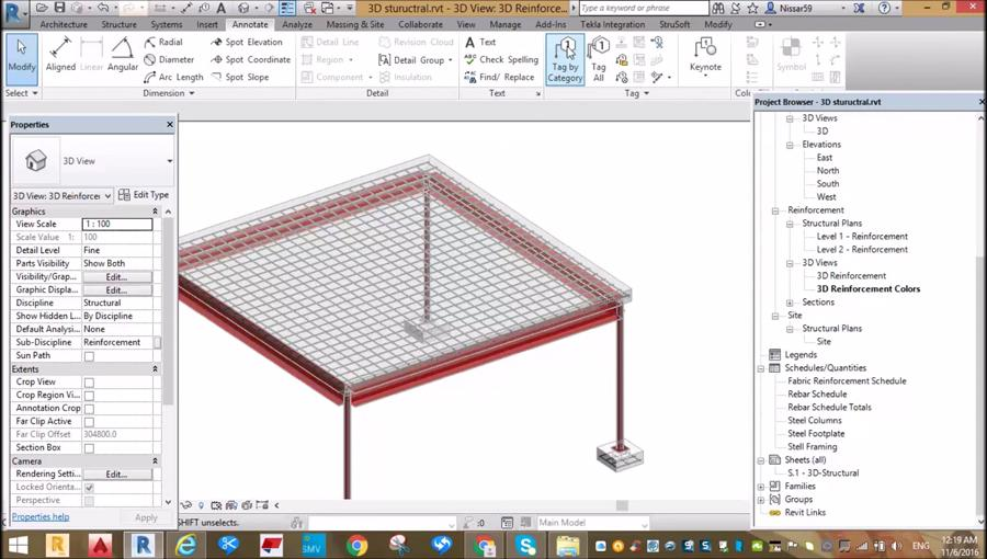 Reinforcing of Simple RCC Slab and Foundation in Revit - Civil