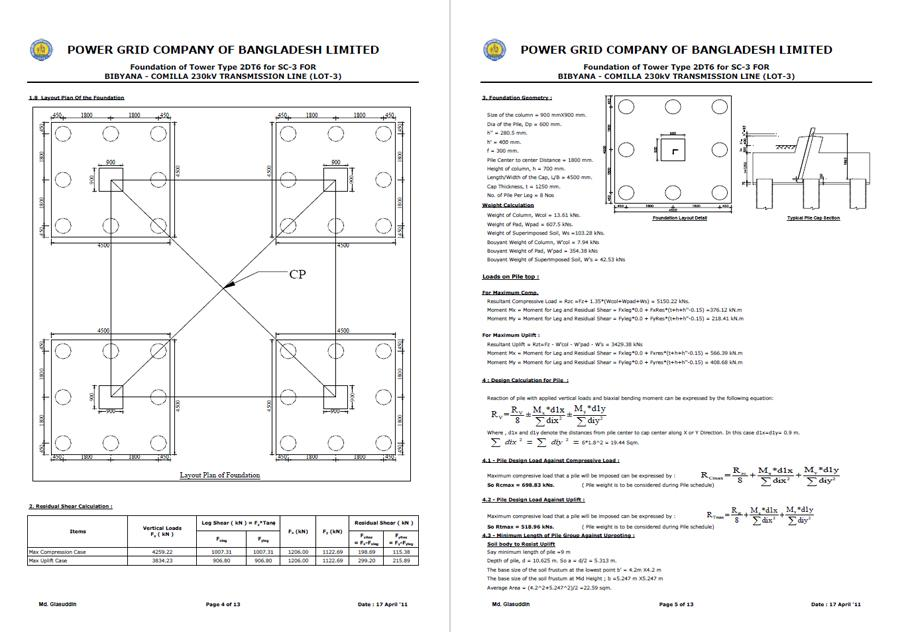 Design Calculation of Pile Foundation of Transmission Tower