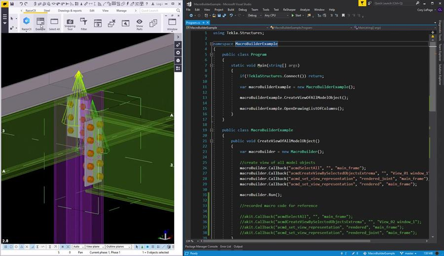 Tekla Structures API Examples - How to Use the Macro Builder