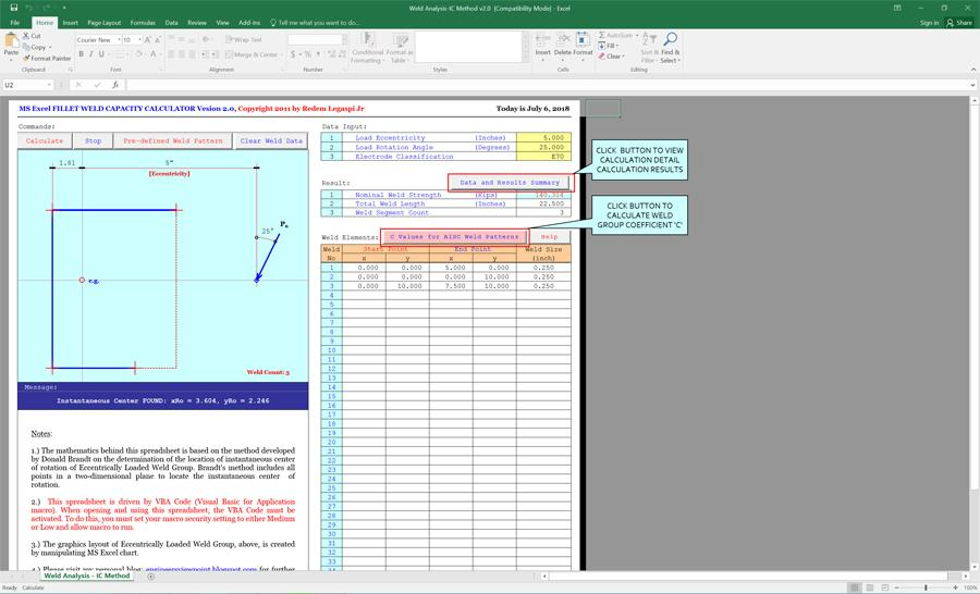 Fillet Weld Coefficient Calculator Spreadsheet - Civil
