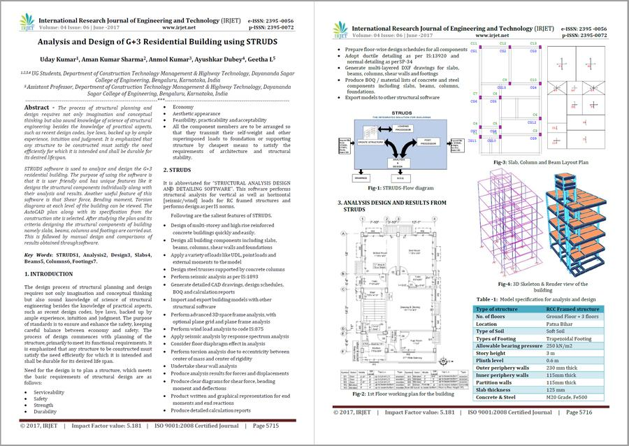 Analysis and Design of G+3 Residential Building using STRUDS