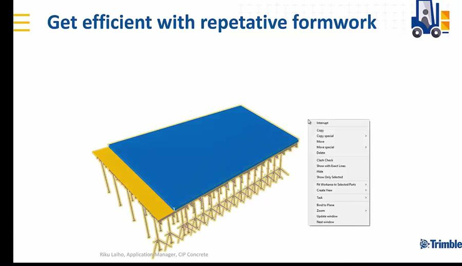 Tekla Structures 2018i New Features - Copy and Mirror Formwork Models