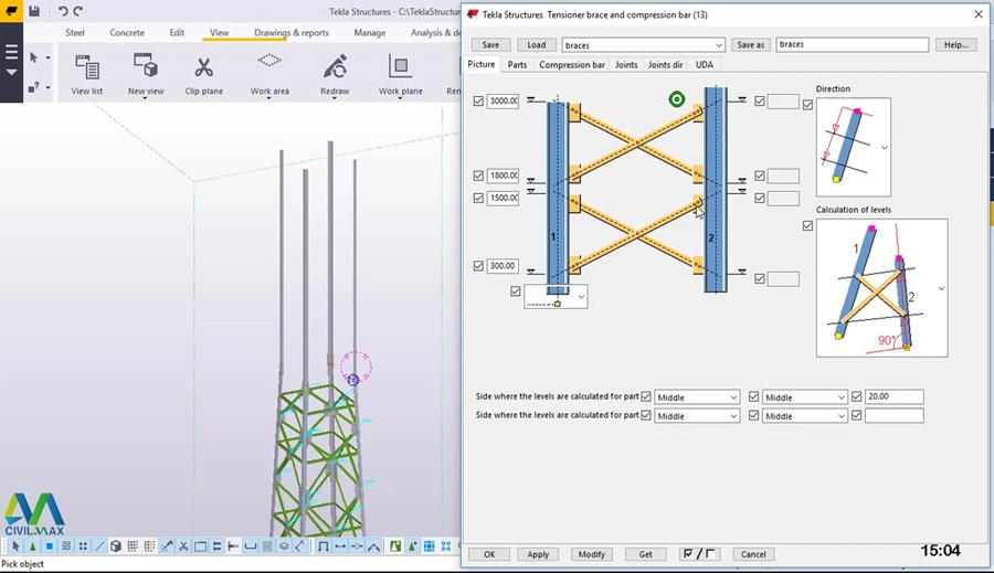 Telecommunication Tower Modeling in Tekla Structures - Civil