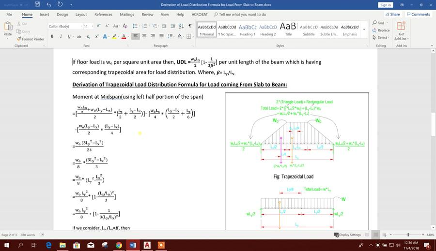 Derivation of Trapezoidal Load Distribution Formula for Load Coming From Slab to Beam