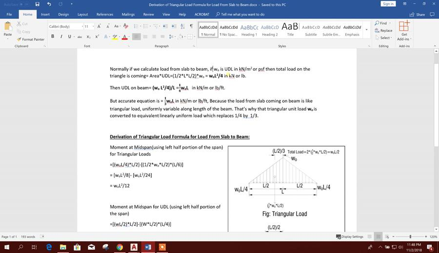 Derivation of Triangular Formula for Load From Slab to Beam
