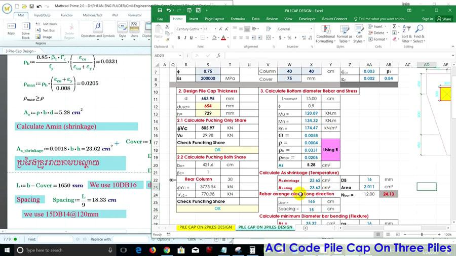Reinforcement Pile Cap Design Stand on 3 Piles in Excel - ACI Code