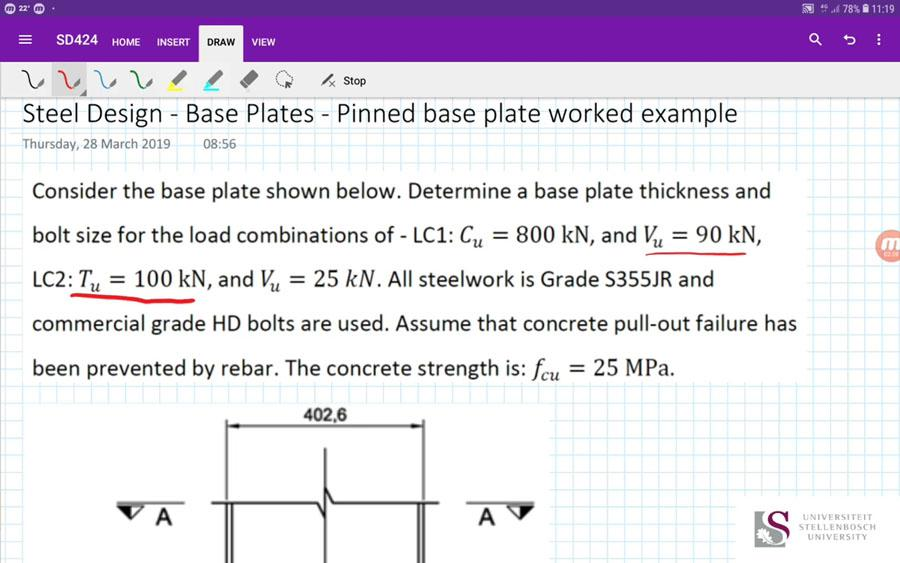 Steel Design - Base Plates - Pinned Base Plate Worked