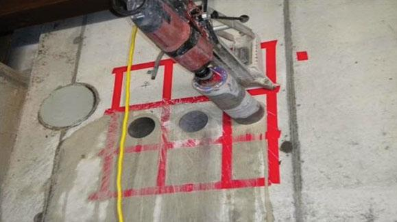 Figure 1. An example of core- drilling of a concrete floor
