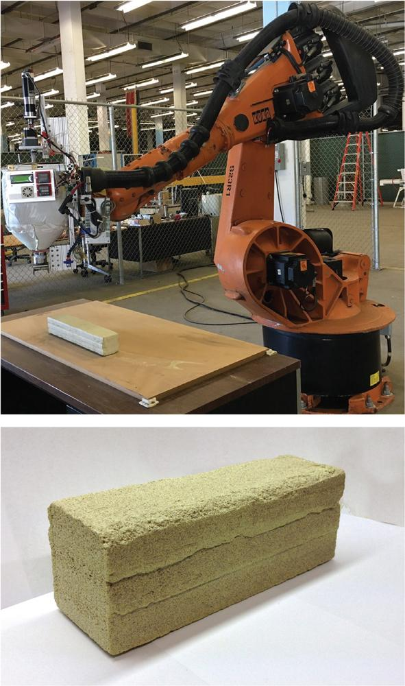 Figure 2. Enhanced articulated robot (top) and the printed sulfur concrete sample (bottom).